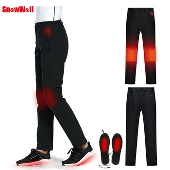 SNOWWOLF 2019 Women Winter Outdoor Pants Electric Heated Sports Hiking Trousers Waterproof Breathable Thermal Fishing Clothing