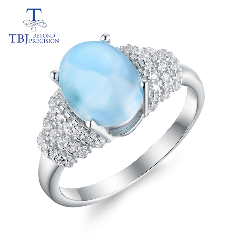 TBJ,new style natural gemstone oval 8*10mm Larimar rings 925 sterling silver fine jewelry for women anniversary or daily wear