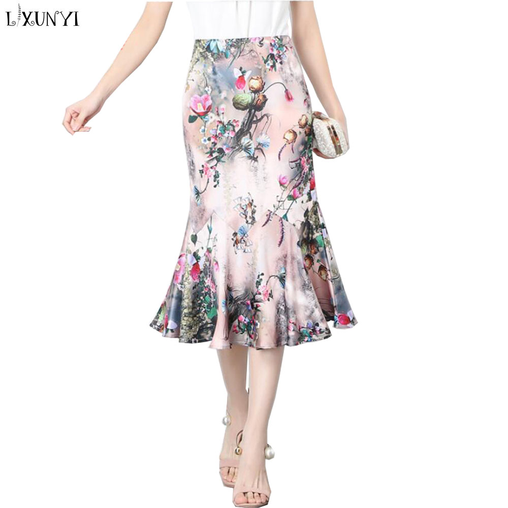 ed1c204306a LXUNYI Summer Floral Printed Midi Skirts for Women Vintage Elegant Woman  Skirt High Waist Slim Plus Size Ruffle Pencil Skirts-in Skirts from Women s  ...