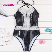 Faerdasi Striped One Piece Swimsuit High Waist Beachwear Lace Swimming Suit Black Blue Bodysuit Push Up Halter Bandage Swimwear