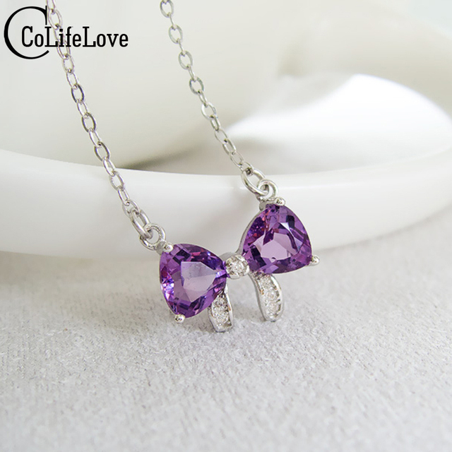 Cute silver necklace crystal pendant real 925 Solid Sterling Silver 100% natural amethyst bowknot pendant fine jewelry for girl