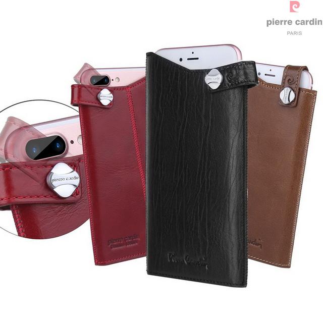 Pierre cardin genuíno bolsa em couro para iphone 7/iphone 7 plus