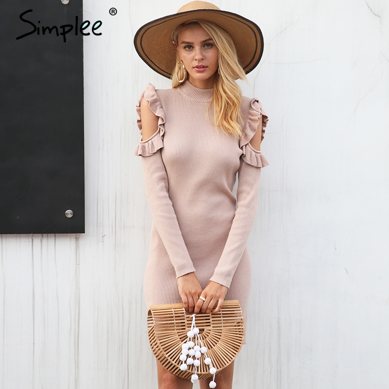 Simplee Cold shoulder ruffle knitted dress Women elegant long sleeve winter bodycon dress Autumn sexy slim party dress vestidos