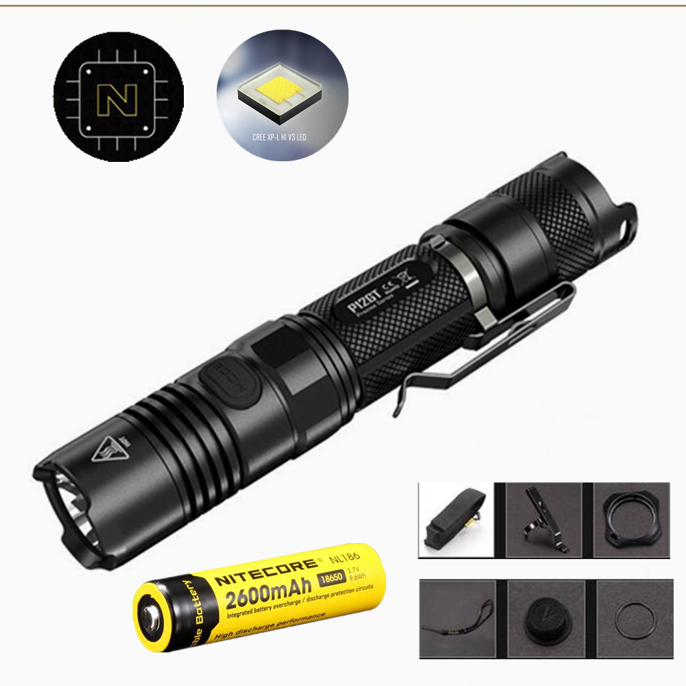 NITECORE P12GT Flashlight with Nitecore Nl186 2600mah 18650 battery 7 modes CREE XP-L HI V3 LED 1000 lumens 320m beam distance nitecore p12gt cree xp l hi v3 1000 lumens led flashlight for gear military rechargeable led tactical flashlight torch