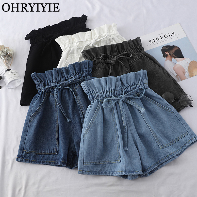 OHRYIYIE Casual Summer Women Denim Shorts 2020 New Arrival High Elastic Waisted Shorts Black Blue White Jeans Shorts Femme ST079