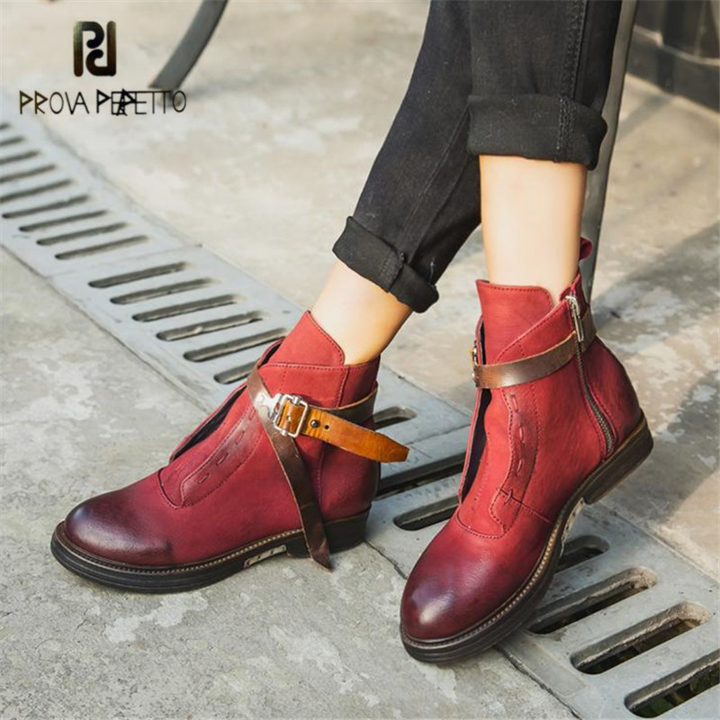 Prova Perfetto Brown Women Ankle Boots Platform Flat Botas Mujer Genuine Leather Winter Snow Boots Short Rubber Martin Shoes бесплатная доставка diy электронные tps54331drg4 ic reg бак adj 3а 8 soic 54331 tps54331 3 шт page 8