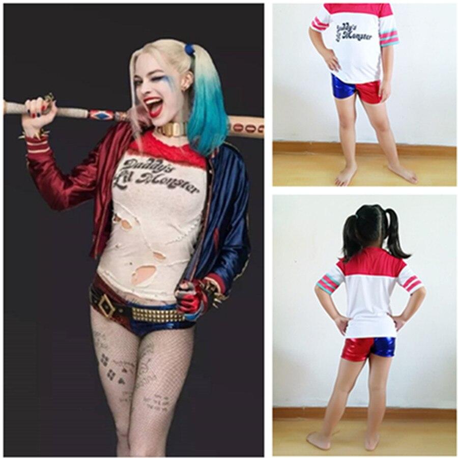 Kids Girls Suicide Squad Harley Quinn Cosplay Costume Summer pants Clown Costume Cos Coat Shorts Baseball jacket Set Top