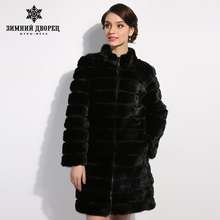 WINTER PALACE beautiful coats women fur coat Fashion Slim mink fur for women mink fur coat mink tail fur coat black new design