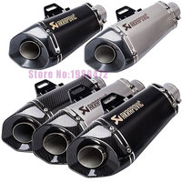 Universal 51mm Akrapovic Motorcycle Muffler Escape with Db Killer For Z800 R6 R25 Conical Six Angle Exhaust Muffler Silencer