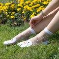 Прозрачный Кристалл Шелка Dot Цветов Принцессы Анти крюк провода Сексуальная Весна Summer новый Высокое Качество кружева Женщин Носки