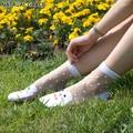 Cristal transparente dot colores princesa de la manera de seda contra el gancho de alambre sexy primavera summer nuevo cordón de la alta calidad calcetines de las mujeres