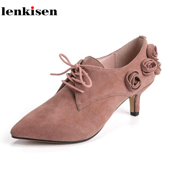 Lenkisen 2018 office lady pointed toe fashion sweet brand Spring wedding shoes med heels party weeding casual women pumps L31