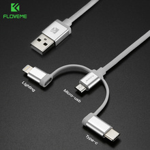 FLOVME 3 in 1 USB Cable for iPhone X 8 Plus Micro USB Type C Cable for Samsung S