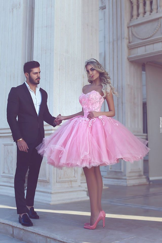 Robe de soiree Pink Short Ball Gown   Prom     Dresses   Tulle Sweetheart Evening Party Said Mhamad Appliques Zipper Back M21804