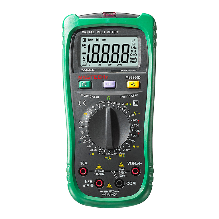 1pcs MASTECH MS8260D Digital Multimeter 4 1/2 Non-contact AC/DC Voltage Current Frenquency Tester Detector with Transistor Check 1 pcs mastech ms8269 digital auto ranging multimeter dmm test capacitance frequency worldwide store