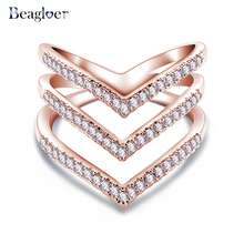 Promotion Sale Beagloer 2017 New Fashion Ring Rose Gold Color Trendy Three V Shape Ring for Women CRI1034