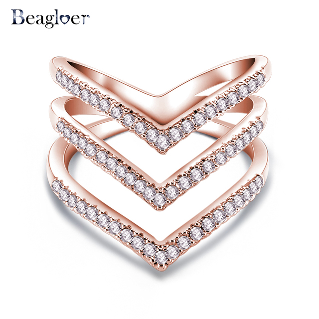 Promotion Sale Beagloer 2017 New Fashion Ring Rose Gold Color Trendy Three V Sha