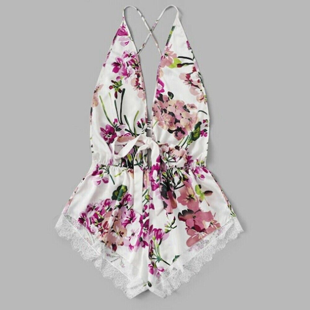 3Colors S-XL Sexy Women Lace Floral Sling Nightwear Mini Bodysuit Babydoll Underwear Lingerie Sleepwear Backless Fashion Clothes