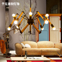 Nordic simple modern coffee shop bar pendant lights conference room creative flexible solid wood lamp spider ZX4275
