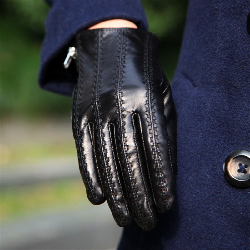 Womens Gloves Leather Genuine Sheepskin Zipper Autumn Winter Warm Plush Fashion