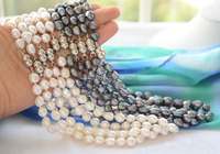 Wholesale 17 9mm Black White Baroque Freshwater Pearl Necklace 10pcs
