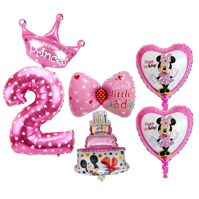 6pcs Set 2nd Birthday Balloons Set Digital 2 Foil Balloons For Baby