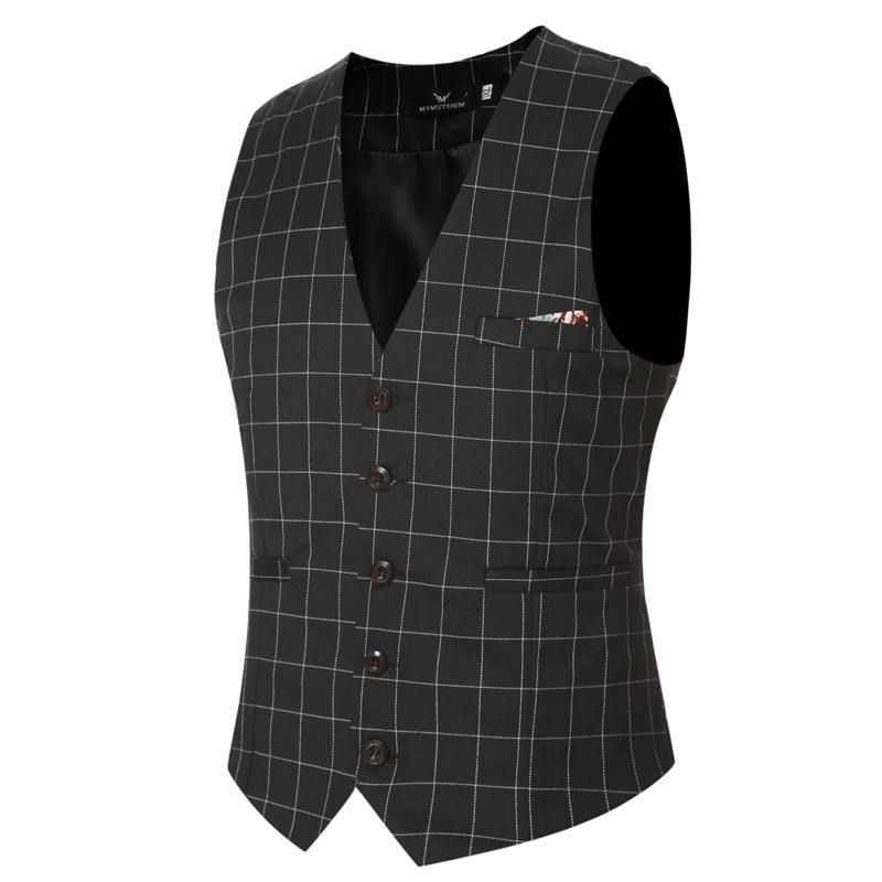 Men brand Sleeveless Jacket Waistcoat Men Suit Vest Fashion Male British Style Slim grid Business and leisure vest big size 6XL
