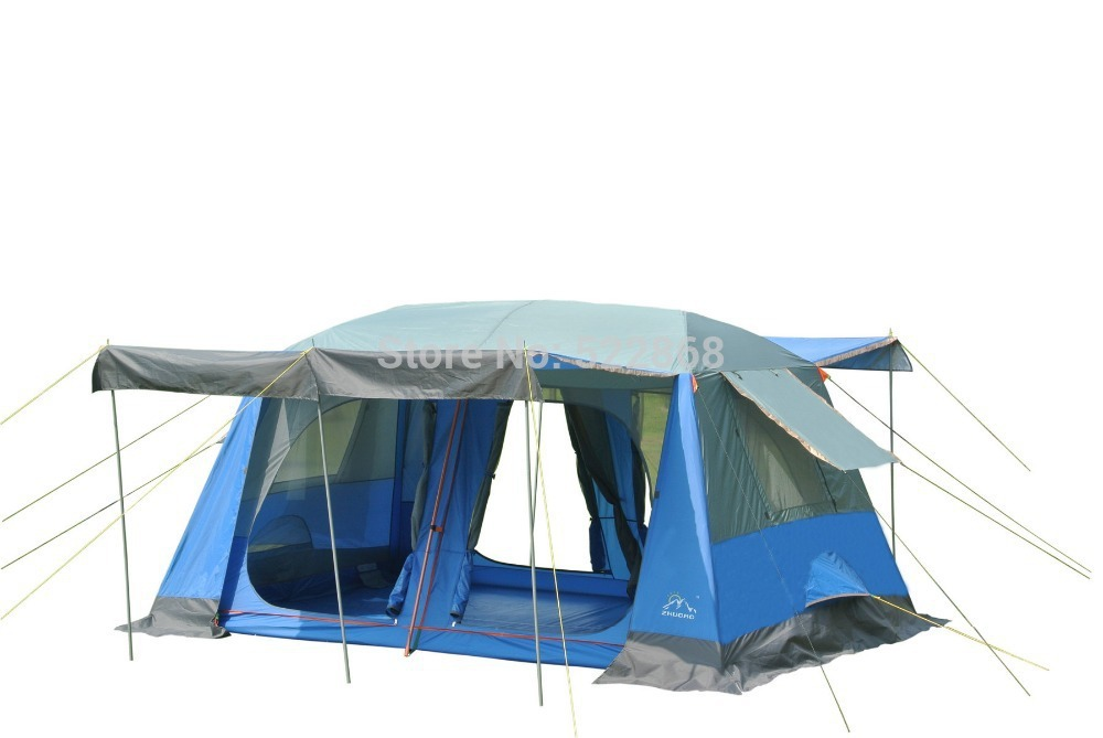 High quality two bedroom 5-10person double layer waterproof camping tent with front hall and front poles