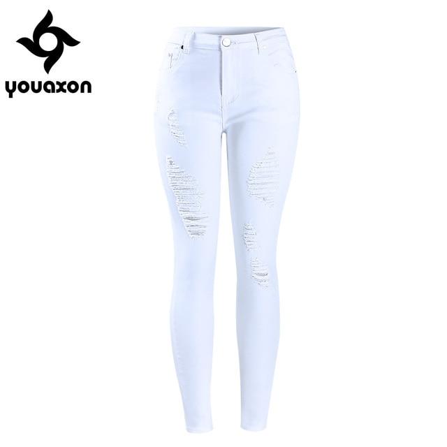 2067 Youaxon Women s Distressed Curvy White Mid High Waist Stretch Denim Pants Ripped Skinny Jeans