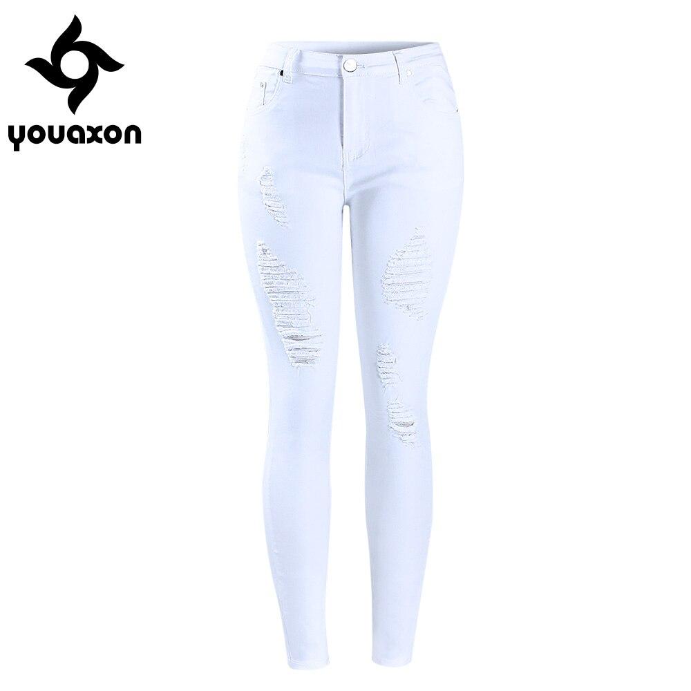 2067 youaxon Для женщин проблемных пышные белые MID Высокая талия стрейч джинсовые штаны рваные обтягивающие джинсы для женщины Жан