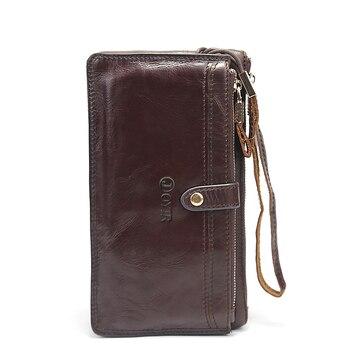 Men Wallet Genuine Leather Luxury Wallet Double Zipper Design Business Male Wallet Card Holder Long Clutch Fashion Purse Wallet фото