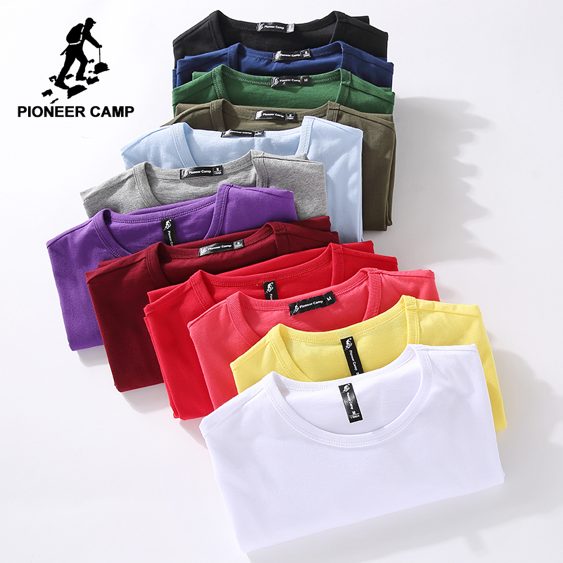 Pioneer ค่ายเสื้อยืดผู้ชายยี่ห้อเสื้อผ้าฤดูร้อนผ้าฝ้าย 100% ของแข็งเสื้อยืดบุรุษเสื้อยืดสบาย ๆ ชายแขนสั้นขนาดบวก 4XL