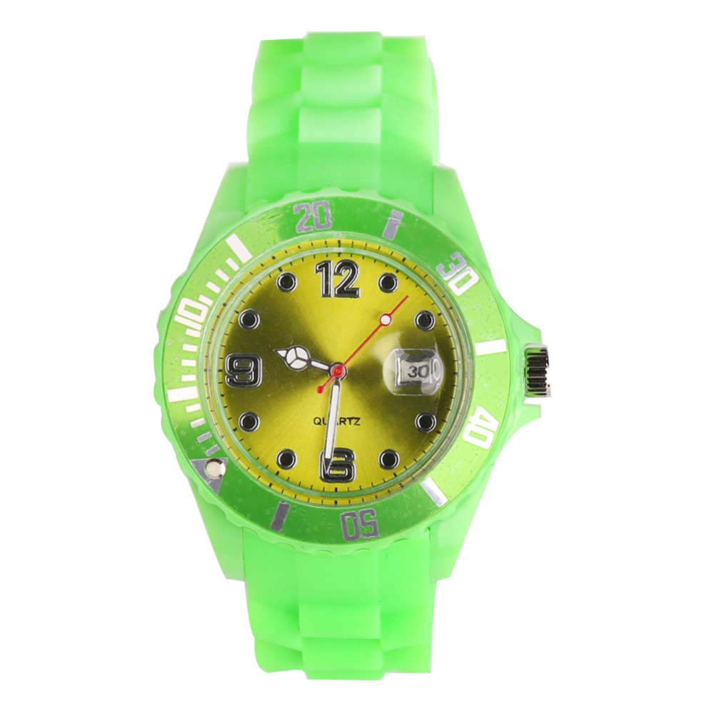 New Fashion Unisex Women Wristwatch Quartz Watch Sports Casual Silicone Reloj Gifts Relogio Feminino Clock Digital Watch Green 2016 new price drop silicone watch women chain watch band high quality wristwatch personality digital diamonds quartz watch new
