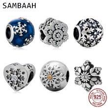 Sambaah Christmas Snowflake Charm 925 Sterling Silver Xmas Winter Frozen Beads for Pandora Gifts Bracelet