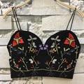 2016 Novo Handmade do Bordado Colete Bustier Cropped Tops Para As Mulheres Com Decote Em V Tanque Bralette Sutiã Camisola Femininas de Alta Qualidade do Espartilho