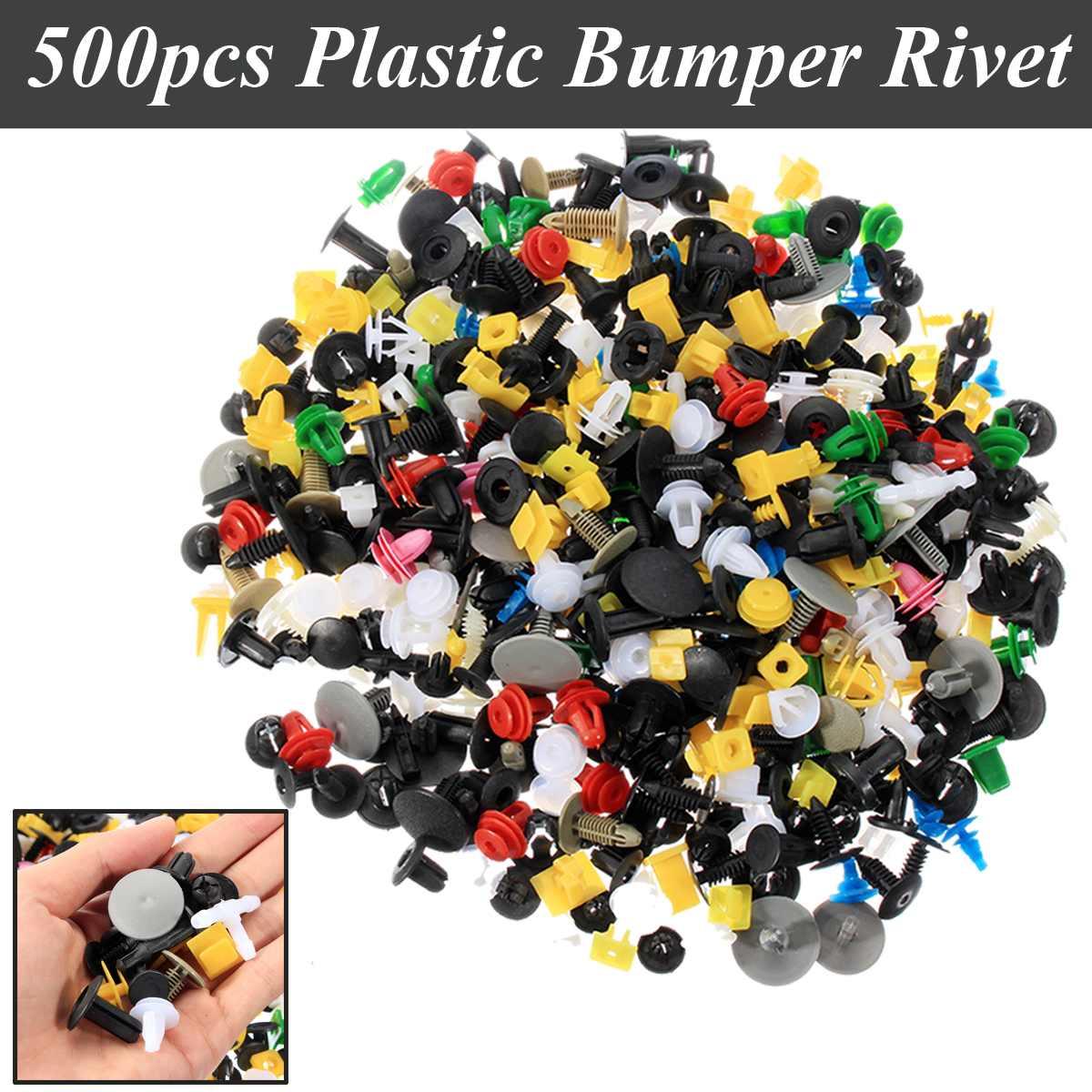 500Pcs Universal Mixed Auto Fastener Car Plastic Bumper Clips Retainer Push Pins Car Fastener Rivet Door Panel Liner for All Car