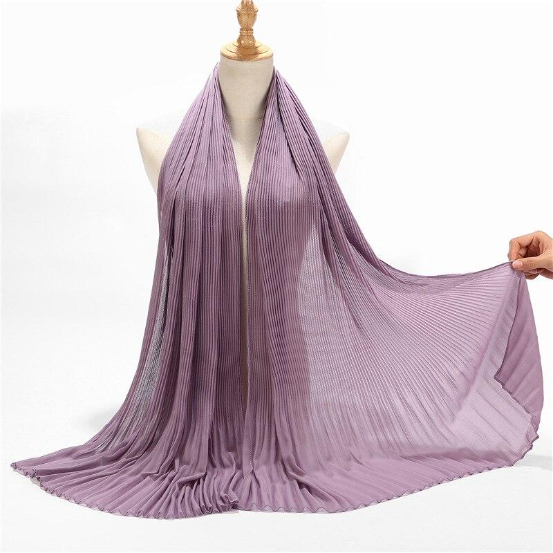 Pearl chiffon pleated striped skirt hijab scarf ladies high fashion muslim head scarf striped silk scarfs in Women 39 s Scarves from Apparel Accessories