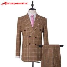 Лидер продаж хаки костюм к ужину двубортный костюм для свадьбы woolblend Блейзер Клетчатый костюм 3Psc комплект со смокингом жениха(пиджак+ Штаны