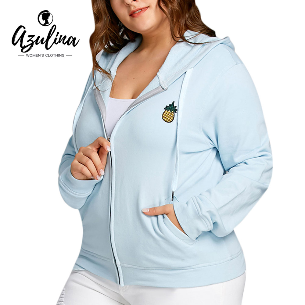 AZULINA Pineapple Patch Plus Size Zip Hoodie Jacket Women 2018 New Fashion Casual Pockets Coats Jackets Big Size 5XL Ladies Tops