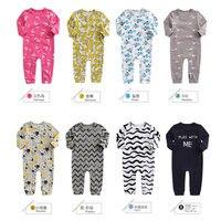 HP 10 Autumn Baby Boys Girls Romper Suit Long Sleeve Metal Snaps Jumpsuit Stripe Letter Carttons