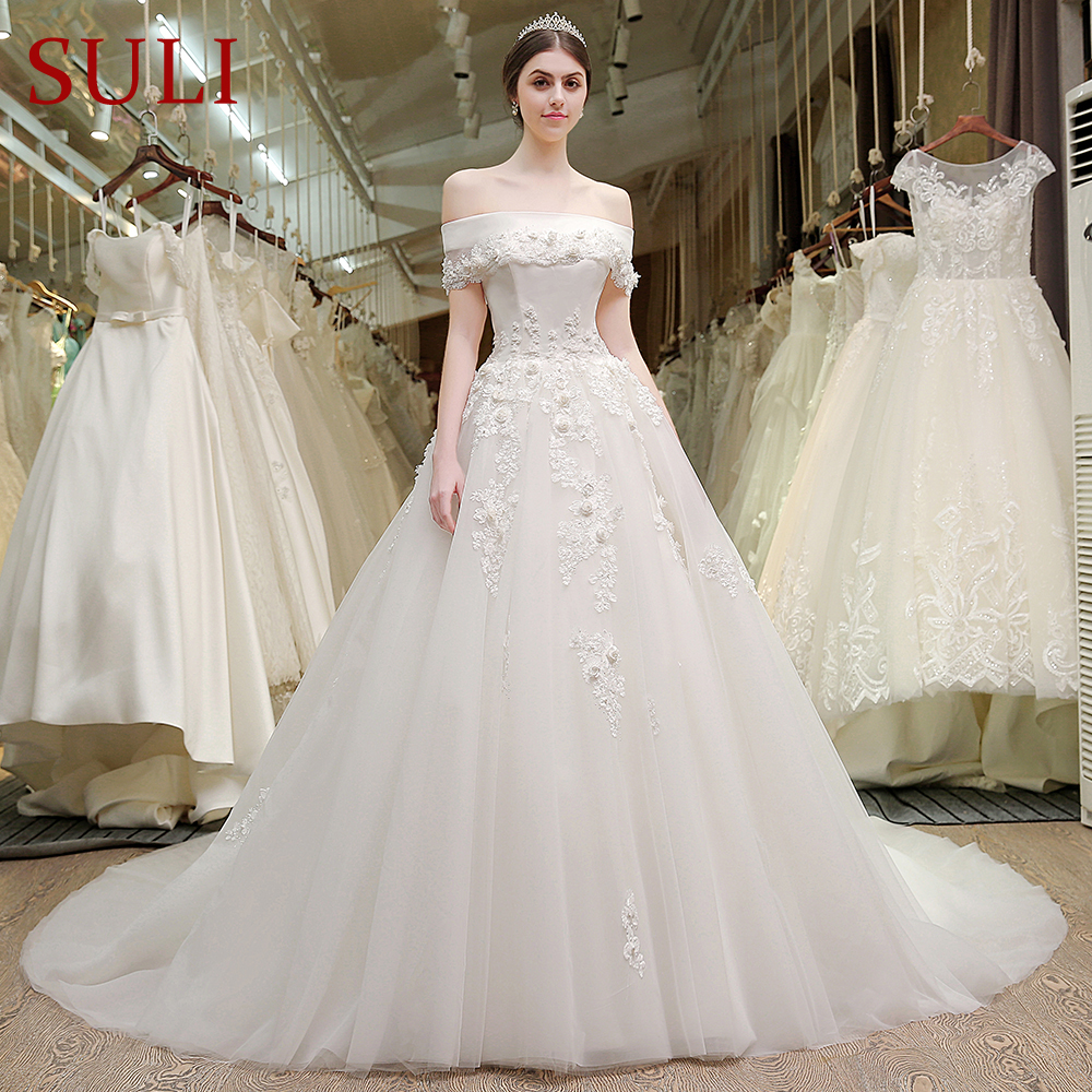 SL-70 Boat Neck 3D Stereoscopic Lace Flowers Plus Size Bohemian Dresses Wedding Murah 2017