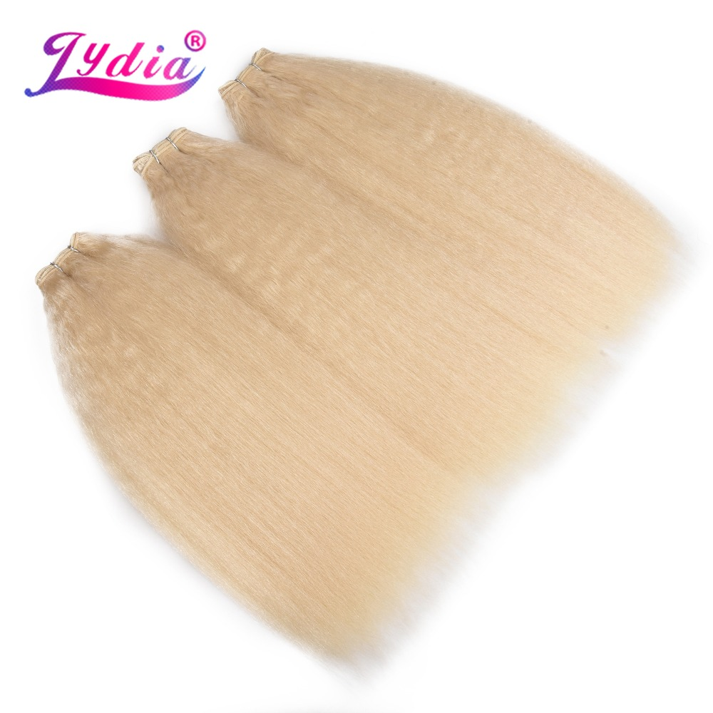 Lydia 1PCS/Pack Kinky Straight Weaving 10-24 Inch Pure Color Synthetic Wave Hair Extension For Women Blond 613# image