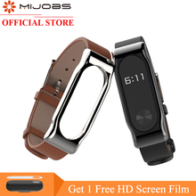 Mijobs Genuine Leather Strap For Xiaomi Mi Band 2 Smart Watch Screwless Bracelet mi band 2