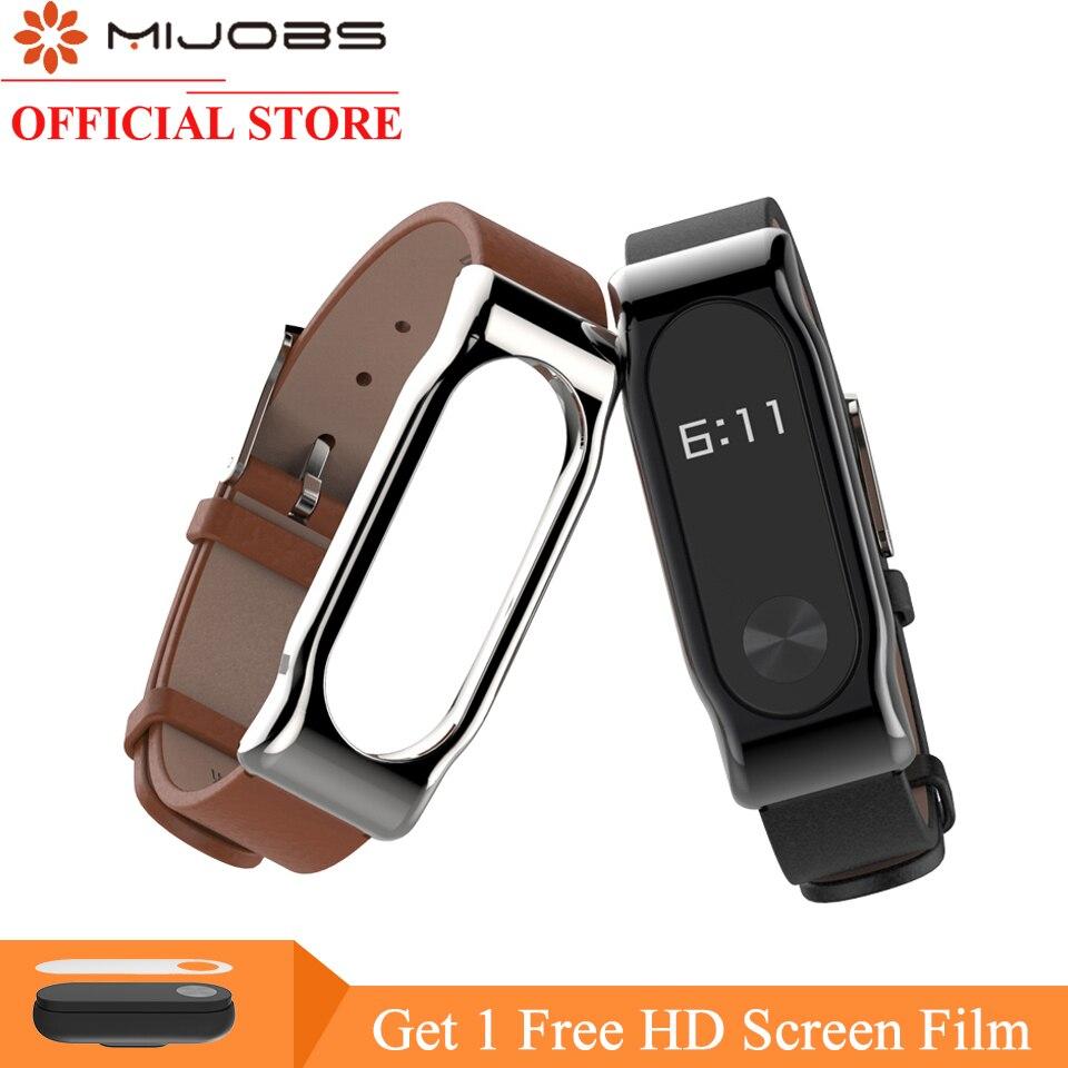 Mijobs Lederarmband Für Xiaomi Mi Band 2 Smart Uhr schraubenlose Armband mi band 2 Band Miband 2 Band Schraubenlose Handgelenk