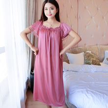 Female Summer Sexy Nightdress New bow Lace Stitching Ice Silk Loose Large Size Comfortable Women Nightgown 7 colors