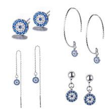 цена на Hot Sale Turkish Blue Evil Eye Earrings For Women Stud Earrings Brincos RhineStone Women Accessories