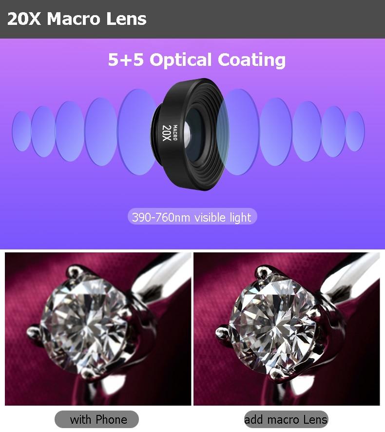 Набор объективов для камеры телефона: макрообъектив 14X телеобъектив широкоугольный объектив рыбий глаз для samsung S10 S10E S9 PLUS NOTE 9 для Xiaomi - 4