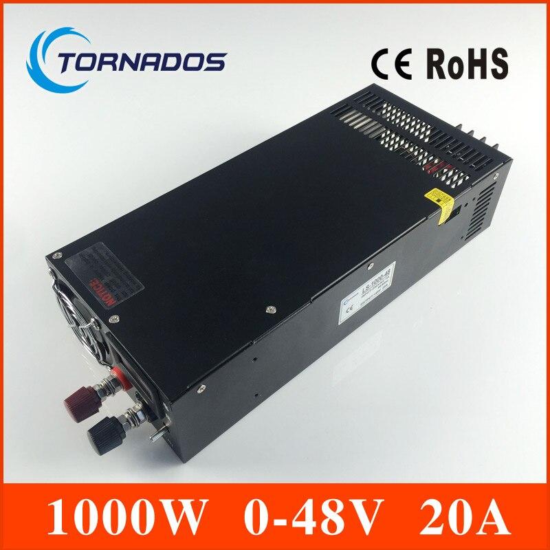 LS-1000-48 Single Output 0-48v Switching power supply for LED Strip light AC-DC SMPS 1000W 48V 20A big watt single output switching power supply 1000w 48v 20a for led strip light ac dc 5 12 24 48v