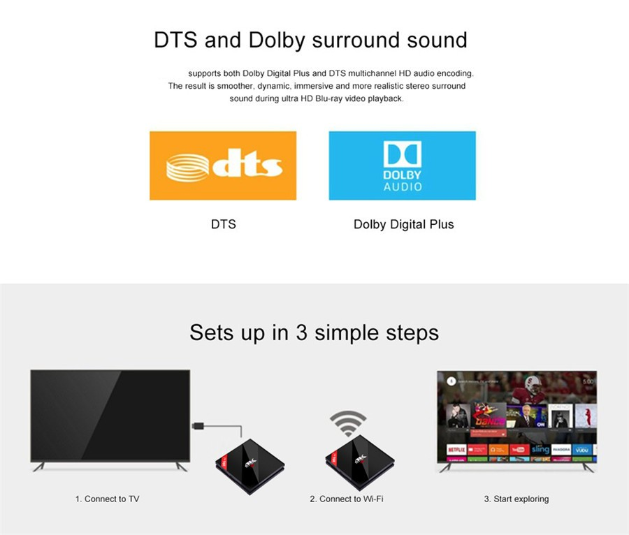 H96PRO+ android6.0 s912 3gb 32gb dts doulby audio