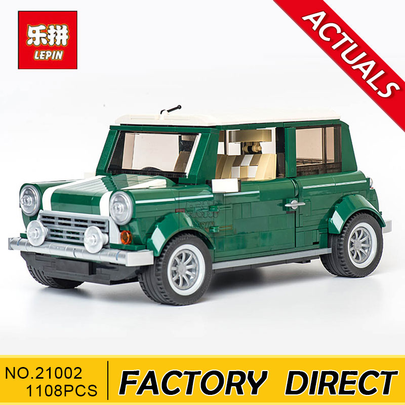 Lepin 21002 technic series The Green Classic Car Model Building Educational Blocks Bricks Boy Toys Compatible With 10242 lepin 21003 series city car classical travel car model building blocks bricks compatible technic car educational toy 10252